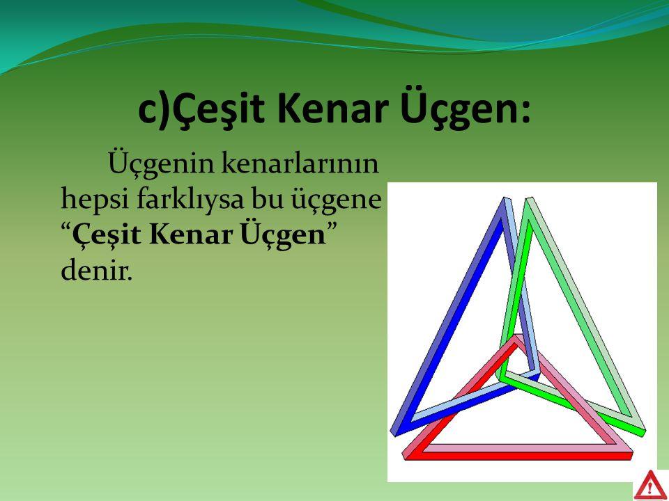 """c)Çeşit Kenar Üçgen: Üçgenin kenarlarının hepsi farklıysa bu üçgene """"Çeşit Kenar Üçgen"""" denir."""