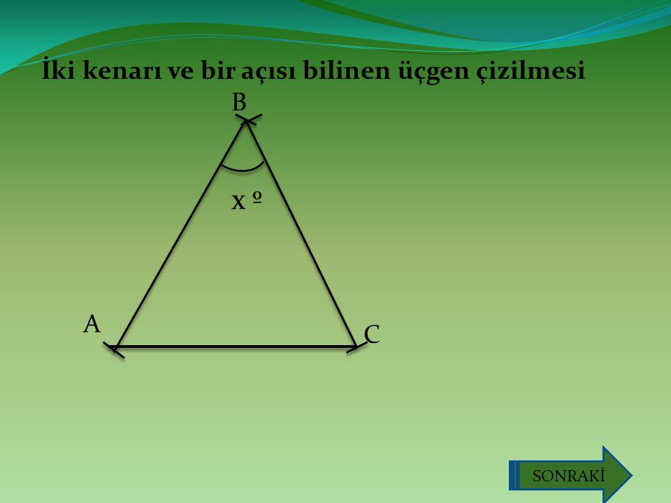 İki kenarı ve bir açısı bilinen üçgen çizilmesi A B C x º SONRAKİ