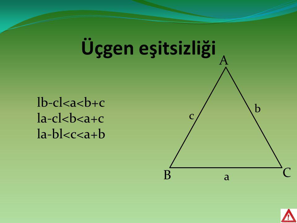 Üçgen eşitsizliği a b c lb-cl<a<b+c la-cl<b<a+c la-bl<c<a+b A B C