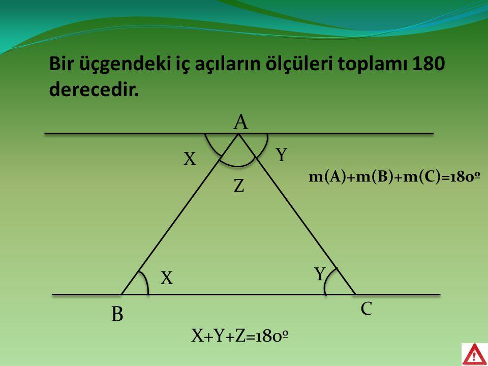 Bir üçgendeki iç açıların ölçüleri toplamı 180 derecedir. A B C X X Y Y m(A)+m(B)+m(C)=180º Z X+Y+Z=180º