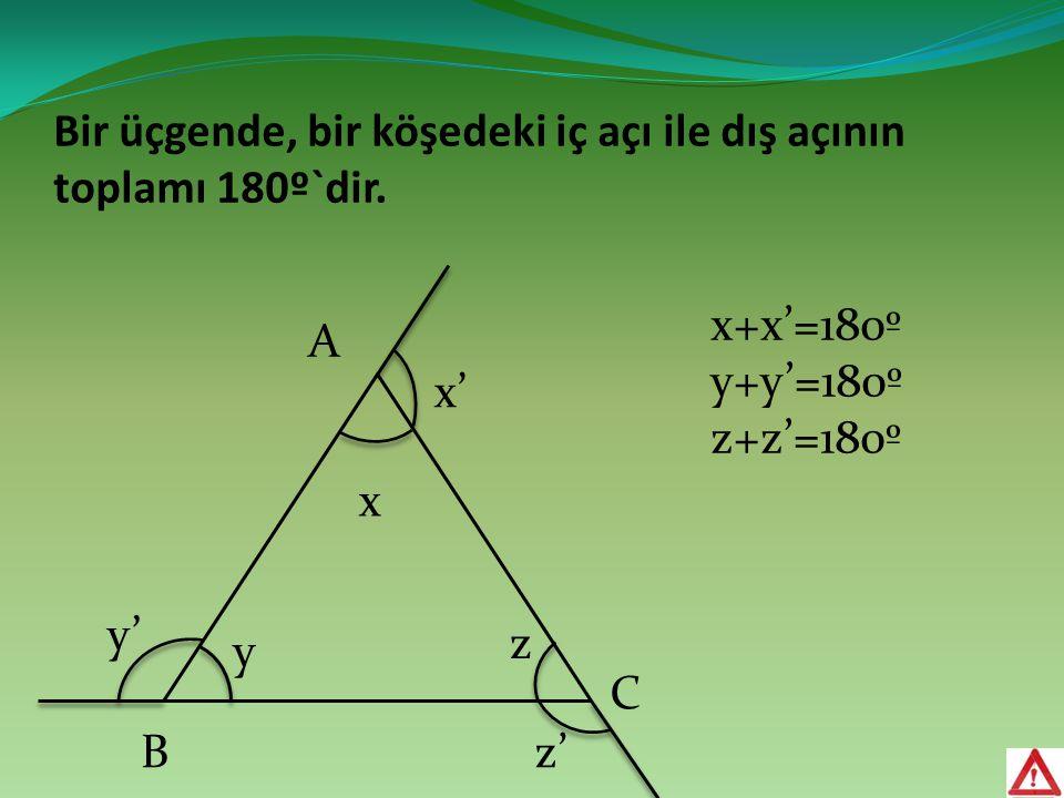 Bir üçgende, bir köşedeki iç açı ile dış açının toplamı 180º`dir. B C x x' y' z' y z A x+x'=180º y+y'=180º z+z'=180º