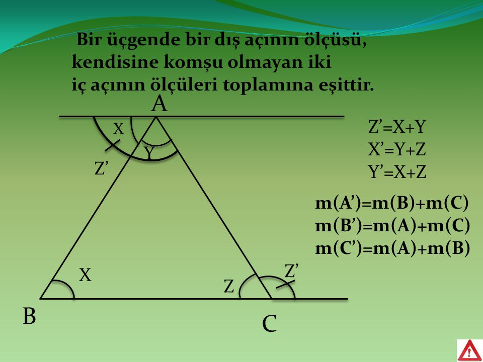 A B C X Y Z X Z' Z'=X+Y X'=Y+Z Y'=X+Z Z' m(A')=m(B)+m(C) m(B')=m(A)+m(C) m(C')=m(A)+m(B) Bir üçgende bir dış açının ölçüsü, kendisine komşu olmayan ik