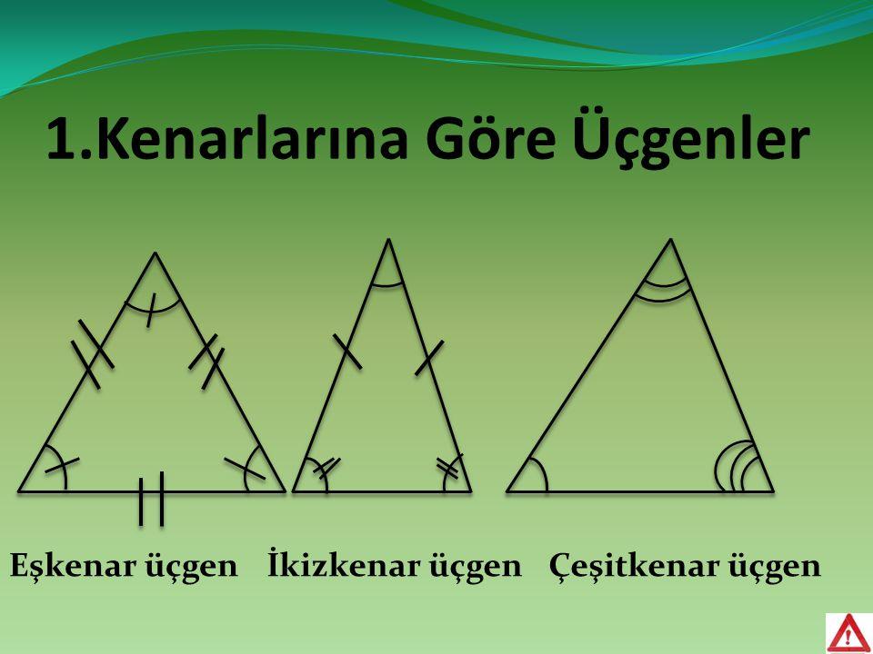 1.Kenarlarına Göre Üçgenler Eşkenar üçgenİkizkenar üçgenÇeşitkenar üçgen