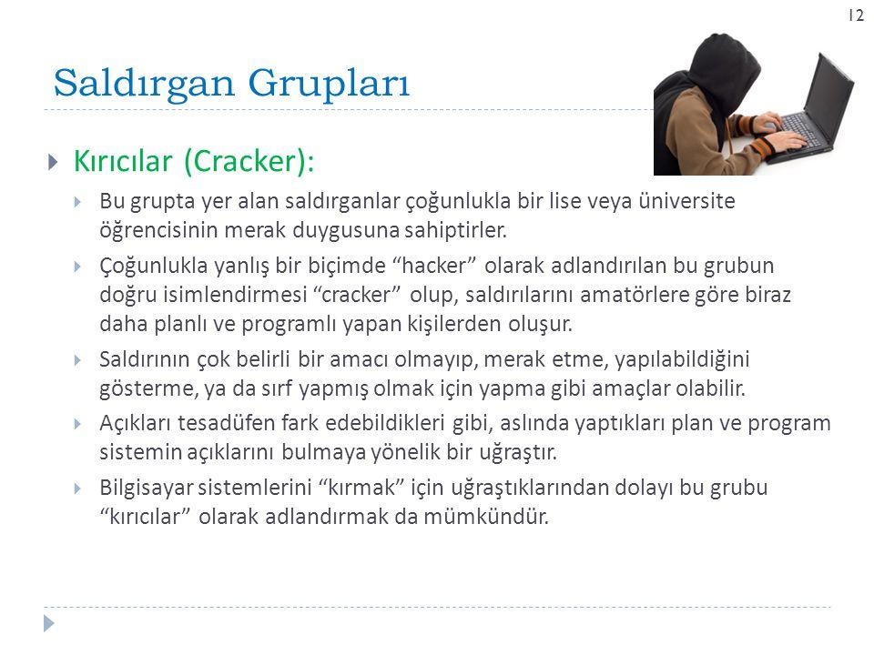 Saldırgan Grupları 12  Kırıcılar (Cracker):  Bu grupta yer alan saldırganlar çoğunlukla bir lise veya üniversite öğrencisinin merak duygusuna sahipt