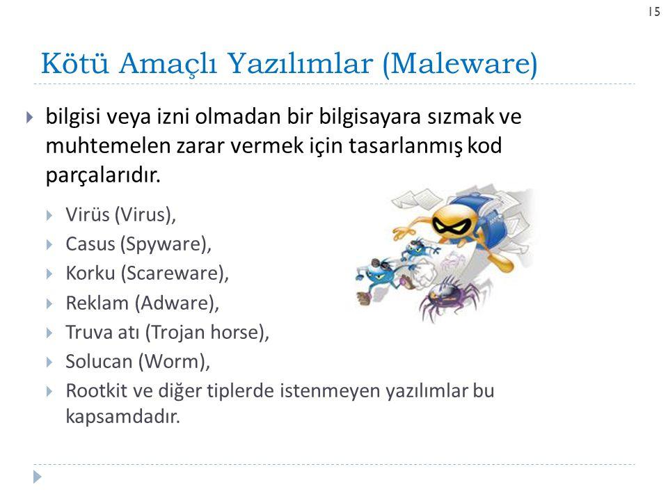 Kötü Amaçlı Yazılımlar (Maleware) 15  bilgisi veya izni olmadan bir bilgisayara sızmak ve muhtemelen zarar vermek için tasarlanmış kod parçalarıdır.