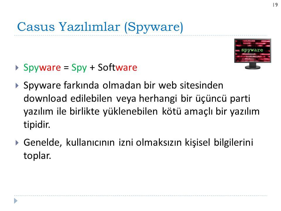 Casus Yazılımlar (Spyware) 19  Spyware = Spy + Software  Spyware farkında olmadan bir web sitesinden download edilebilen veya herhangi bir üçüncü pa