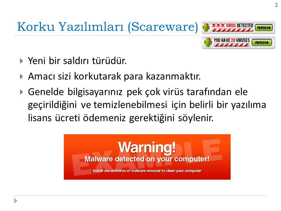 Korku Yazılımları (Scareware) 22  Yeni bir saldırı türüdür.  Amacı sizi korkutarak para kazanmaktır.  Genelde bilgisayarınız pek çok virüs tarafınd