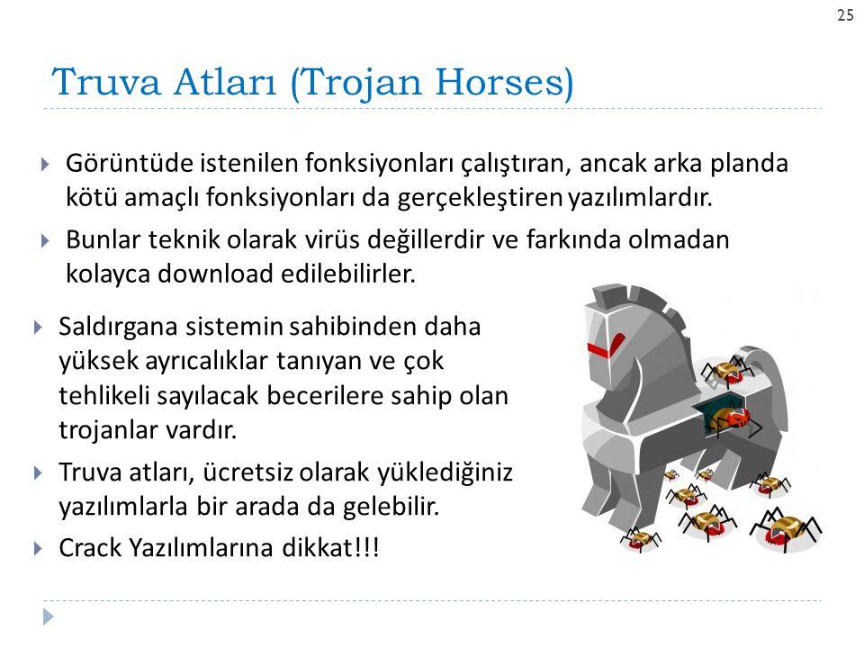 Truva Atları (Trojan Horses) 25  Görüntüde istenilen fonksiyonları çalıştıran, ancak arka planda kötü amaçlı fonksiyonları da gerçekleştiren yazılıml