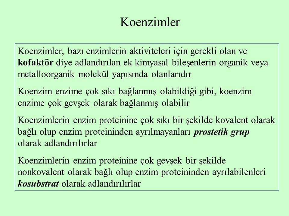 Koenzimler Koenzimler, bazı enzimlerin aktiviteleri için gerekli olan ve kofaktör diye adlandırılan ek kimyasal bileşenlerin organik veya metalloorganik molekül yapısında olanlarıdır Koenzim enzime çok sıkı bağlanmış olabildiği gibi, koenzim enzime çok gevşek olarak bağlanmış olabilir Koenzimlerin enzim proteinine çok sıkı bir şekilde kovalent olarak bağlı olup enzim proteininden ayrılmayanları prostetik grup olarak adlandırılırlar Koenzimlerin enzim proteinine çok gevşek bir şekilde nonkovalent olarak bağlı olup enzim proteininden ayrılabilenleri kosubstrat olarak adlandırılırlar