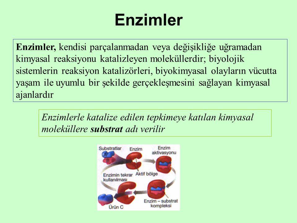 Enzimler Enzimler, kendisi parçalanmadan veya değişikliğe uğramadan kimyasal reaksiyonu katalizleyen moleküllerdir; biyolojik sistemlerin reaksiyon katalizörleri, biyokimyasal olayların vücutta yaşam ile uyumlu bir şekilde gerçekleşmesini sağlayan kimyasal ajanlardır Enzimlerle katalize edilen tepkimeye katılan kimyasal moleküllere substrat adı verilir
