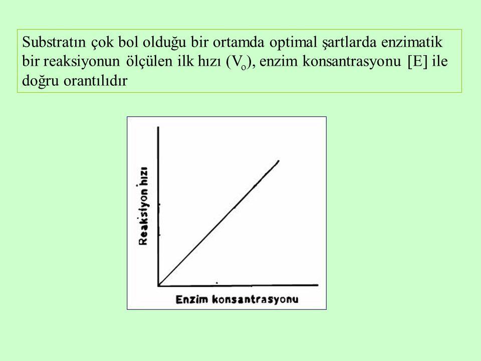 Substratın çok bol olduğu bir ortamda optimal şartlarda enzimatik bir reaksiyonun ölçülen ilk hızı (V o ), enzim konsantrasyonu  E  ile doğru orantılıdır