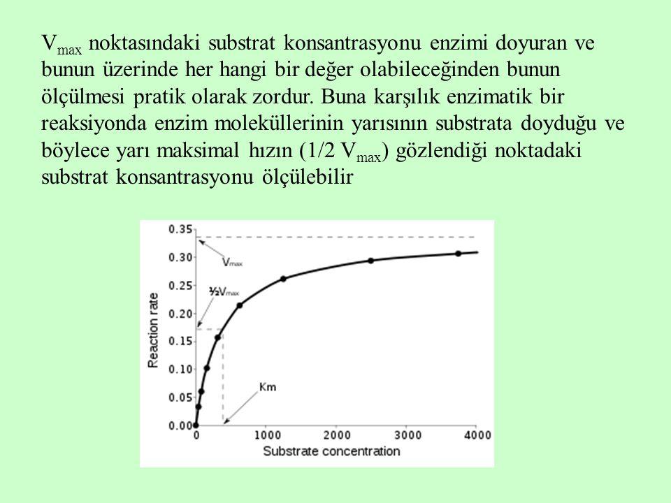 V max noktasındaki substrat konsantrasyonu enzimi doyuran ve bunun üzerinde her hangi bir değer olabileceğinden bunun ölçülmesi pratik olarak zordur.