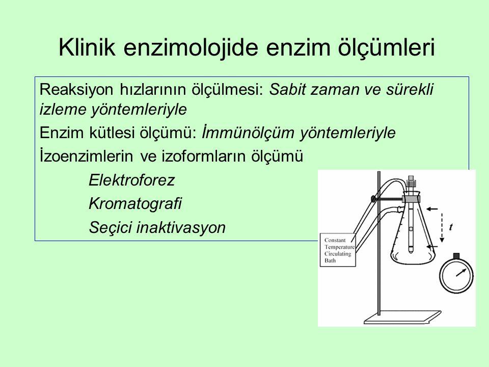 Klinik enzimolojide enzim ölçümleri Reaksiyon hızlarının ölçülmesi: Sabit zaman ve sürekli izleme yöntemleriyle Enzim kütlesi ölçümü: İmmünölçüm yöntemleriyle İzoenzimlerin ve izoformların ölçümü Elektroforez Kromatografi Seçici inaktivasyon