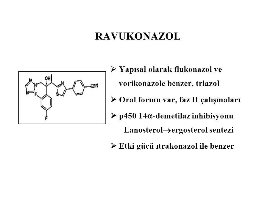  Yapısal olarak flukonazol ve vorikonazole benzer, triazol  Oral formu var, faz II çalışmaları  p450 14  -demetilaz inhibisyonu Lanosterol  ergos