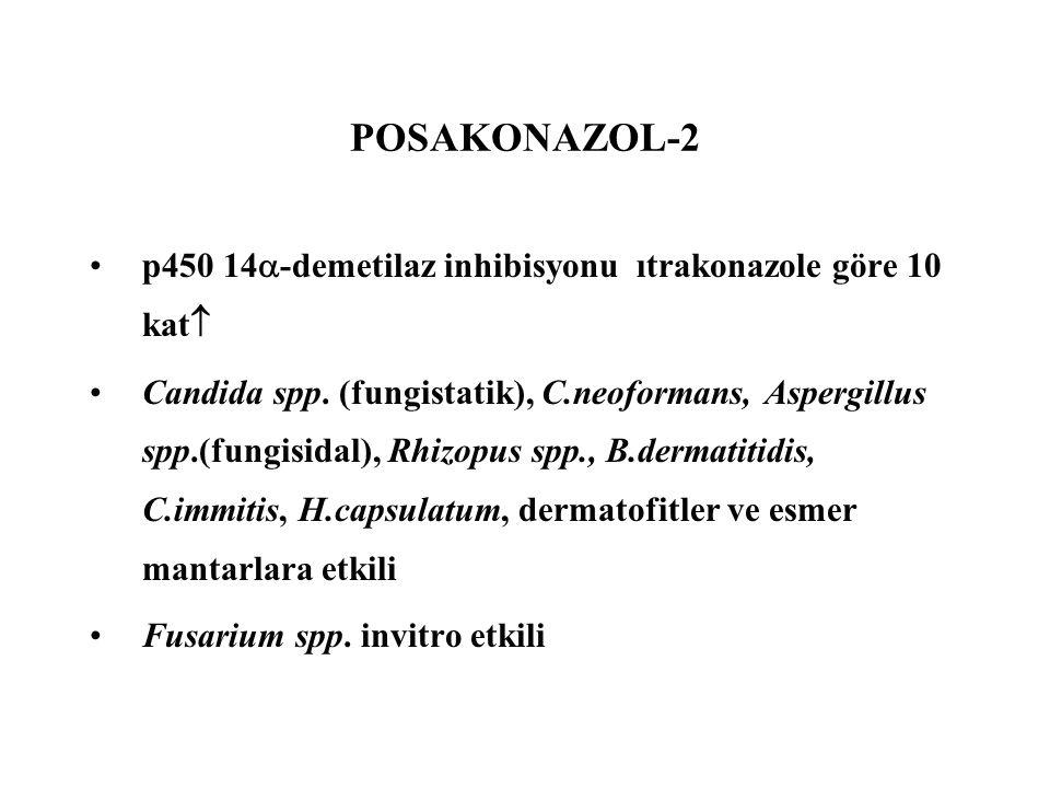 POSAKONAZOL-2 p450 14  -demetilaz inhibisyonu ıtrakonazole göre 10 kat  Candida spp. (fungistatik), C.neoformans, Aspergillus spp.(fungisidal), Rhiz