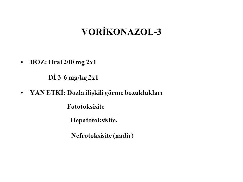 VORİKONAZOL-3 DOZ: Oral 200 mg 2x1 Dİ 3-6 mg/kg 2x1 YAN ETKİ: Dozla ilişkili görme bozuklukları Fototoksisite Hepatotoksisite, Nefrotoksisite (nadir)
