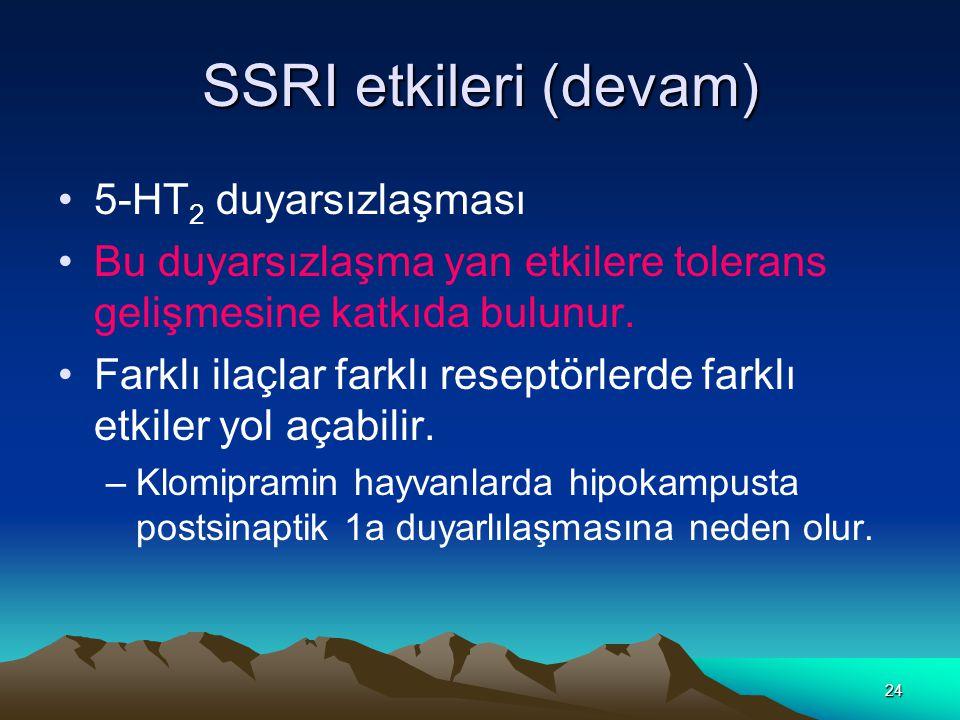 24 SSRI etkileri (devam) 5-HT 2 duyarsızlaşması Bu duyarsızlaşma yan etkilere tolerans gelişmesine katkıda bulunur.