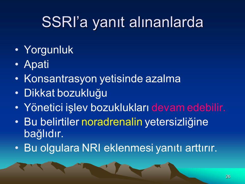 26 SSRI'a yanıt alınanlarda Yorgunluk Apati Konsantrasyon yetisinde azalma Dikkat bozukluğu Yönetici işlev bozuklukları devam edebilir.