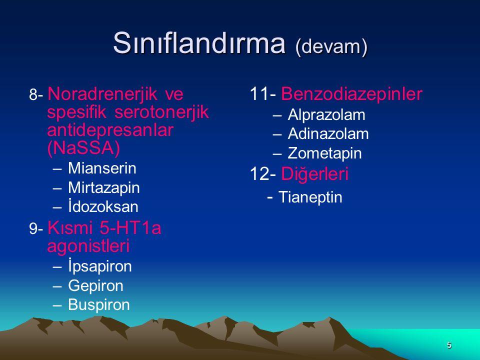 5 Sınıflandırma (devam) 8- Noradrenerjik ve spesifik serotonerjik antidepresanlar (NaSSA) –Mianserin –Mirtazapin –İdozoksan 9- Kısmi 5-HT1a agonistleri –İpsapiron –Gepiron –Buspiron 11- Benzodiazepinler –Alprazolam –Adinazolam –Zometapin 12- Diğerleri - Tianeptin