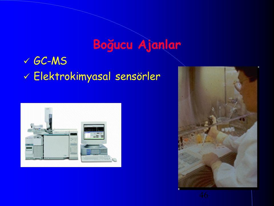 46 Boğucu Ajanlar GC-MS Elektrokimyasal sensörler