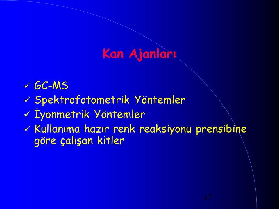 47 Kan Ajanları GC-MS Spektrofotometrik Yöntemler İyonmetrik Yöntemler Kullanıma hazır renk reaksiyonu prensibine göre çalışan kitler