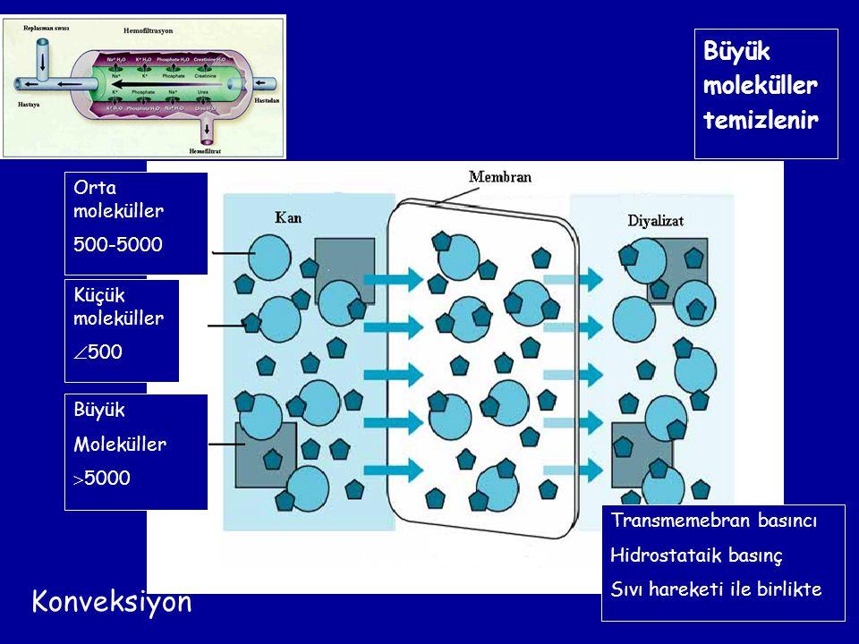Transmemebran basıncı Hidrostataik basınç Sıvı hareketi ile birlikte Küçük moleküller  500 Büyük Moleküller  5000 Konveksiyon Büyük moleküller temiz