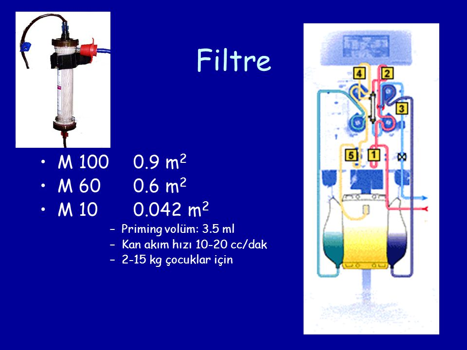 Filtre M 1000.9 m 2 M 600.6 m 2 M 100.042 m 2 –Priming volüm: 3.5 ml –Kan akım hızı 10-20 cc/dak –2-15 kg çocuklar için