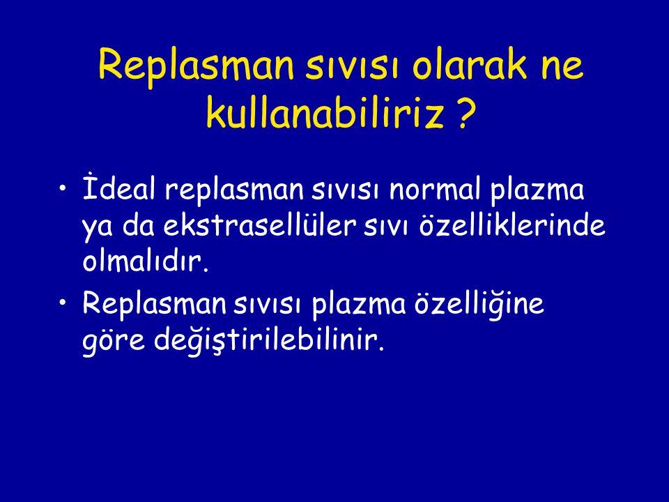 Replasman sıvısı olarak ne kullanabiliriz ? İdeal replasman sıvısı normal plazma ya da ekstrasellüler sıvı özelliklerinde olmalıdır. Replasman sıvısı