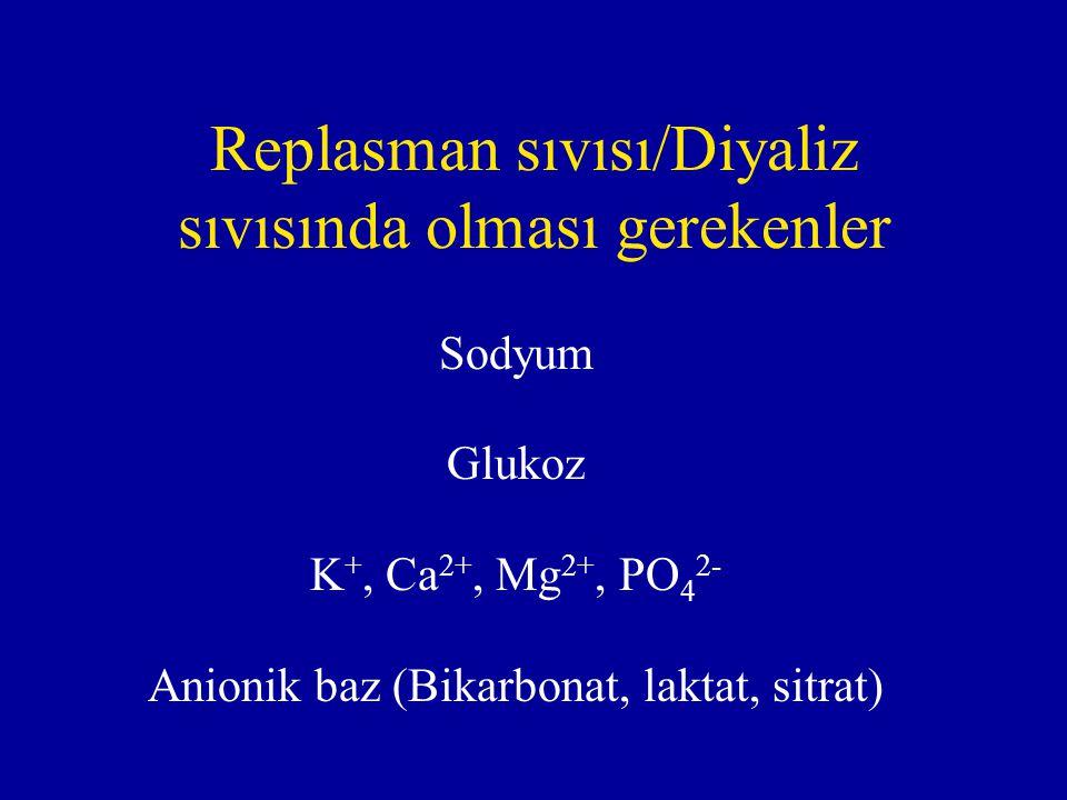 Replasman sıvısı/Diyaliz sıvısında olması gerekenler Sodyum Glukoz K +, Ca 2+, Mg 2+, PO 4 2- Anionik baz (Bikarbonat, laktat, sitrat)