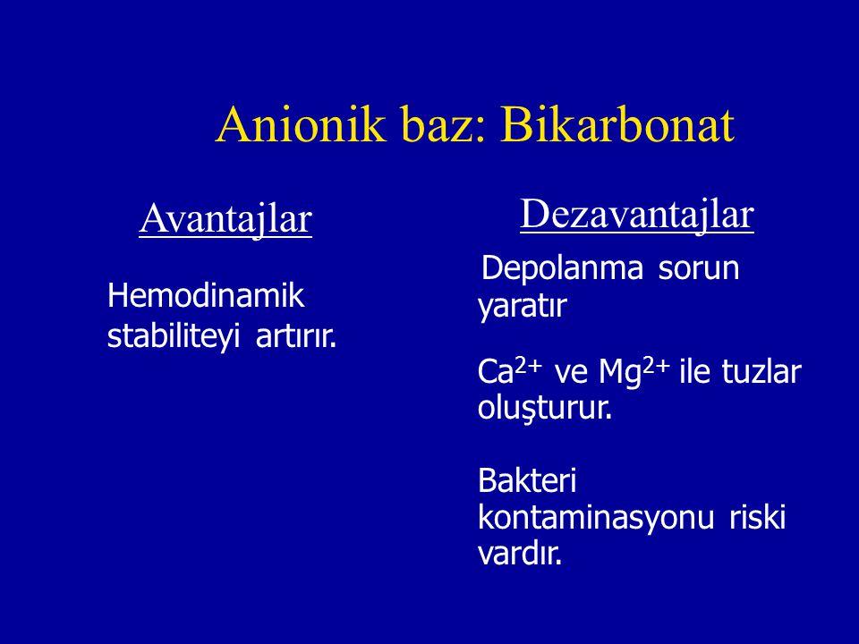 Anionik baz: Bikarbonat Avantajlar Hemodinamik stabiliteyi artırır. Dezavantajlar Depolanma sorun yaratır Ca 2+ ve Mg 2+ ile tuzlar oluşturur. Bakteri