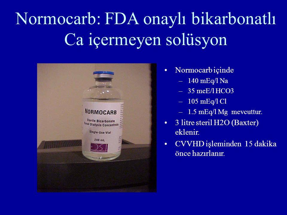 Normocarb: FDA onaylı bikarbonatlı Ca içermeyen solüsyon Normocarb içinde –140 mEq/l Na –35 meE/l HCO3 –105 mEq/l Cl –1.5 mEq/l Mg mevcuttur. 3 litre