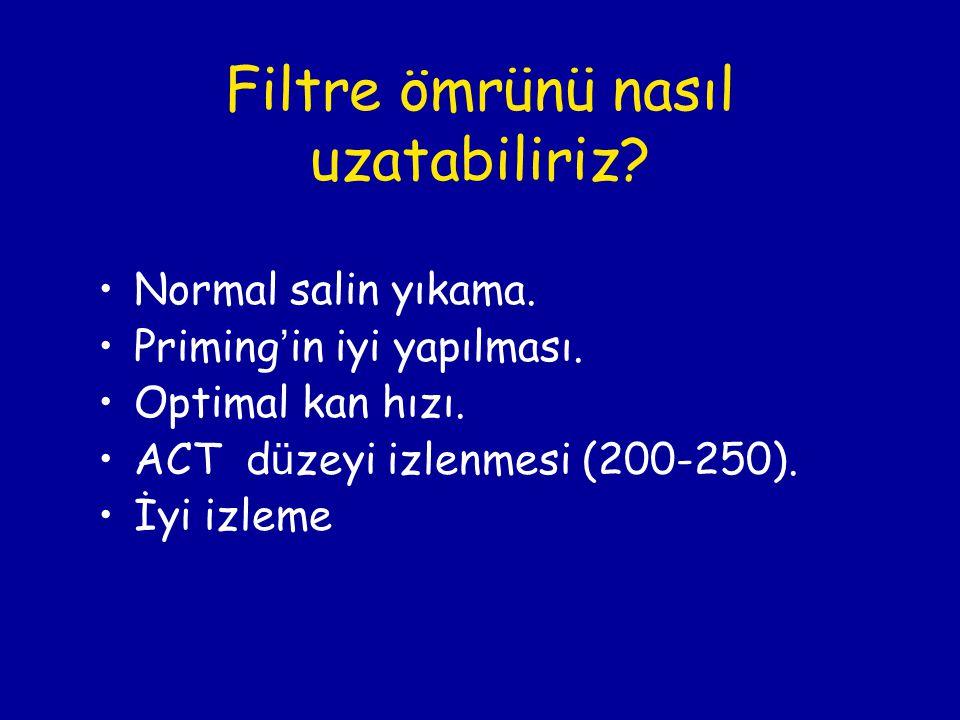 Filtre ömrünü nasıl uzatabiliriz? Normal salin yıkama. Priming ' in iyi yapılması. Optimal kan hızı. ACT d ü zeyi izlenmesi (200-250). İyi izleme