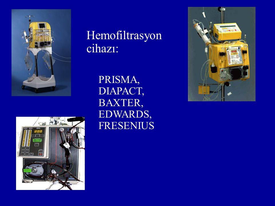 Hemofiltrasyon cihazı: PRISMA, DIAPACT, BAXTER, EDWARDS, FRESENIUS