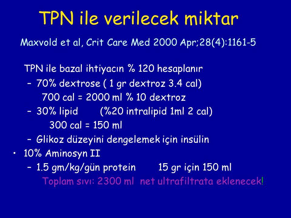 TPN ile bazal ihtiyacın % 120 hesaplanır –70% dextrose ( 1 gr dextroz 3.4 cal) 700 cal = 2000 ml % 10 dextroz –30% lipid(%20 intralipid 1ml 2 cal) 300