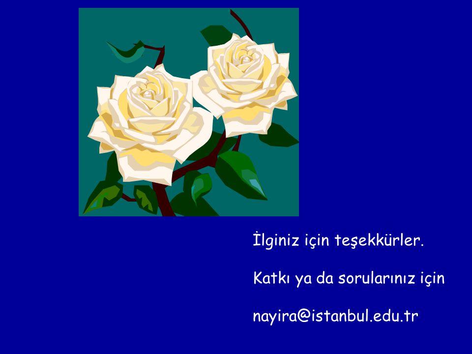 İlginiz için teşekkürler. Katkı ya da sorularınız için nayira@istanbul.edu.tr