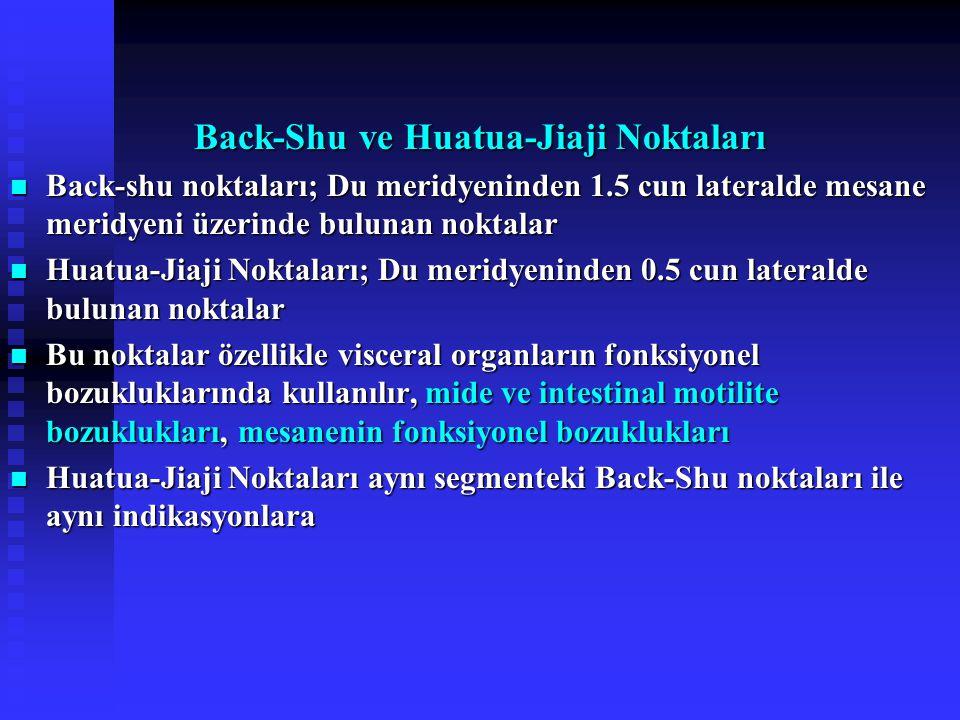 Back-Shu ve Huatua-Jiaji Noktaları Back-shu noktaları; Du meridyeninden 1.5 cun lateralde mesane meridyeni üzerinde bulunan noktalar Back-shu noktaları; Du meridyeninden 1.5 cun lateralde mesane meridyeni üzerinde bulunan noktalar Huatua-Jiaji Noktaları; Du meridyeninden 0.5 cun lateralde bulunan noktalar Huatua-Jiaji Noktaları; Du meridyeninden 0.5 cun lateralde bulunan noktalar Bu noktalar özellikle visceral organların fonksiyonel bozukluklarında kullanılır, mide ve intestinal motilite bozuklukları, mesanenin fonksiyonel bozuklukları Bu noktalar özellikle visceral organların fonksiyonel bozukluklarında kullanılır, mide ve intestinal motilite bozuklukları, mesanenin fonksiyonel bozuklukları Huatua-Jiaji Noktaları aynı segmenteki Back-Shu noktaları ile aynı indikasyonlara Huatua-Jiaji Noktaları aynı segmenteki Back-Shu noktaları ile aynı indikasyonlara