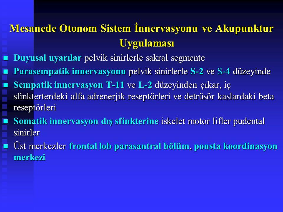 Mesanede Otonom Sistem İnnervasyonu ve Akupunktur Uygulaması Duyusal uyarılar pelvik sinirlerle sakral segmente Duyusal uyarılar pelvik sinirlerle sakral segmente Parasempatik innervasyonu pelvik sinirlerle S-2 ve S-4 düzeyinde Parasempatik innervasyonu pelvik sinirlerle S-2 ve S-4 düzeyinde Sempatik innervasyon T-11 ve L-2 düzeyinden çıkar, iç sfinkterterdeki alfa adrenerjik reseptörleri ve detrüsör kaslardaki beta reseptörleri Sempatik innervasyon T-11 ve L-2 düzeyinden çıkar, iç sfinkterterdeki alfa adrenerjik reseptörleri ve detrüsör kaslardaki beta reseptörleri Somatik innervasyon dış sfinkterine iskelet motor lifler pudental sinirler Somatik innervasyon dış sfinkterine iskelet motor lifler pudental sinirler Üst merkezler frontal lob parasantral bölüm, ponsta koordinasyon merkezi Üst merkezler frontal lob parasantral bölüm, ponsta koordinasyon merkezi