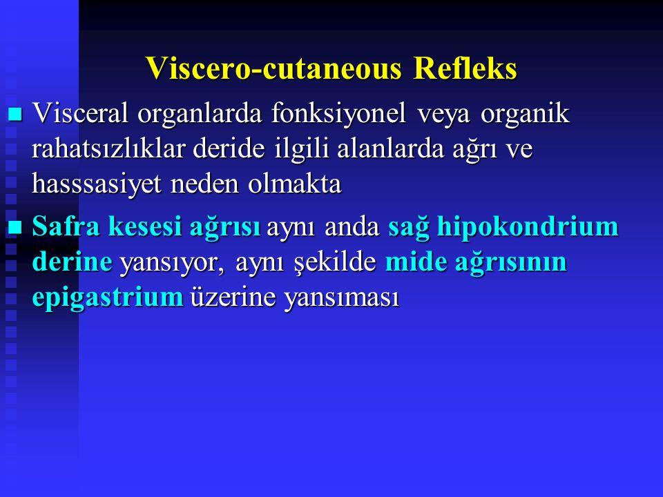 Viscero-cutaneous Refleks Visceral organlarda fonksiyonel veya organik rahatsızlıklar deride ilgili alanlarda ağrı ve hasssasiyet neden olmakta Visceral organlarda fonksiyonel veya organik rahatsızlıklar deride ilgili alanlarda ağrı ve hasssasiyet neden olmakta Safra kesesi ağrısı aynı anda sağ hipokondrium derine yansıyor, aynı şekilde mide ağrısının epigastrium üzerine yansıması Safra kesesi ağrısı aynı anda sağ hipokondrium derine yansıyor, aynı şekilde mide ağrısının epigastrium üzerine yansıması