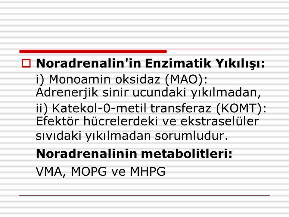  Noradrenalin in Enzimatik Yıkılışı: i) Monoamin oksidaz (MAO): Adrenerjik sinir ucundaki yıkılmadan, ii) Katekol-0-metil transferaz (KOMT): Efektör hücrelerdeki ve ekstraselüler sıvıdaki yıkılmadan sorumludur.