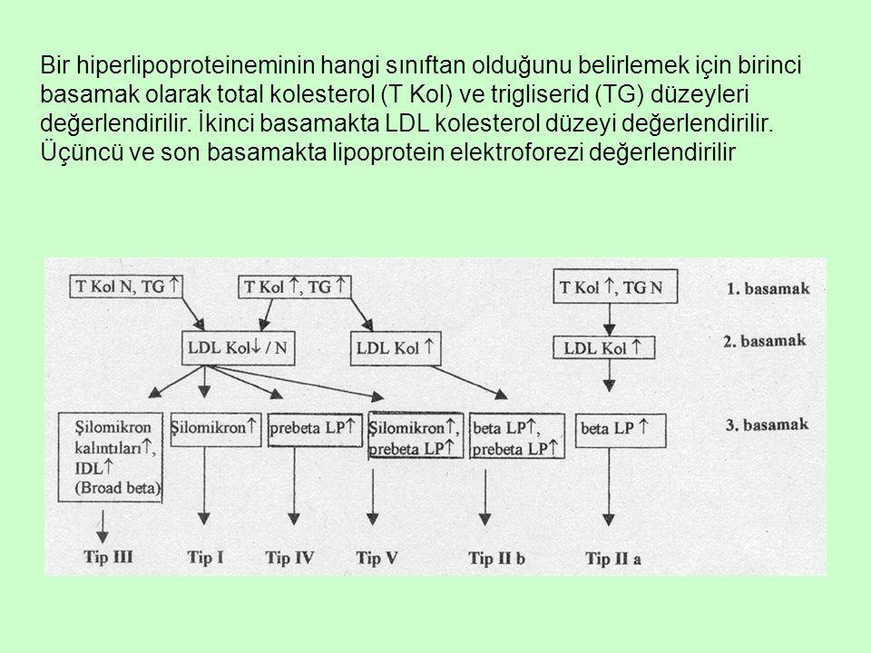 Bir hiperlipoproteineminin hangi sınıftan olduğunu belirlemek için birinci basamak olarak total kolesterol (T Kol) ve trigliserid (TG) düzeyleri değer