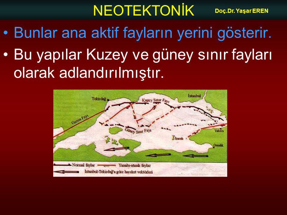 NEOTEKTONİK Doç.Dr. Yaşar EREN Bunlar ana aktif fayların yerini gösterir. Bu yapılar Kuzey ve güney sınır fayları olarak adlandırılmıştır.