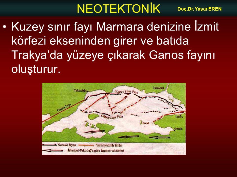 NEOTEKTONİK Doç.Dr. Yaşar EREN Kuzey sınır fayı Marmara denizine İzmit körfezi ekseninden girer ve batıda Trakya'da yüzeye çıkarak Ganos fayını oluştu