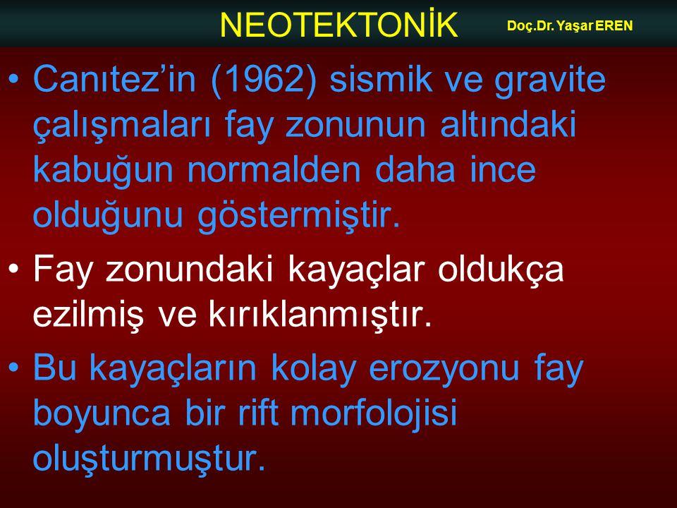 NEOTEKTONİK Doç.Dr. Yaşar EREN Canıtez'in (1962) sismik ve gravite çalışmaları fay zonunun altındaki kabuğun normalden daha ince olduğunu göstermiştir