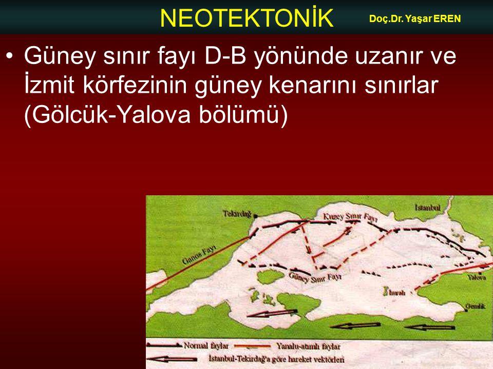 NEOTEKTONİK Doç.Dr. Yaşar EREN Güney sınır fayı D-B yönünde uzanır ve İzmit körfezinin güney kenarını sınırlar (Gölcük-Yalova bölümü)