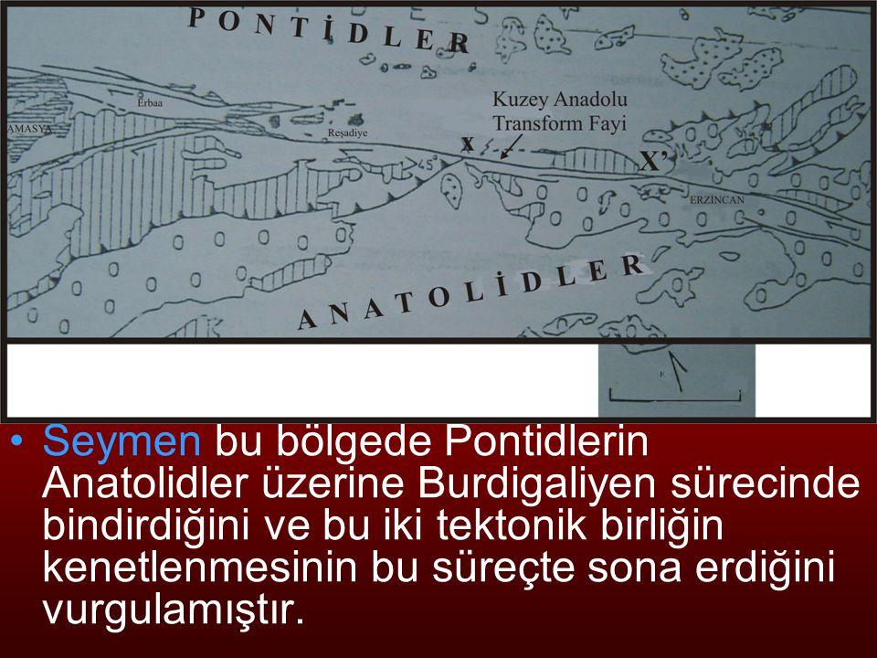 NEOTEKTONİK Doç.Dr. Yaşar EREN Seymen bu bölgede Pontidlerin Anatolidler üzerine Burdigaliyen sürecinde bindirdiğini ve bu iki tektonik birliğin kenet