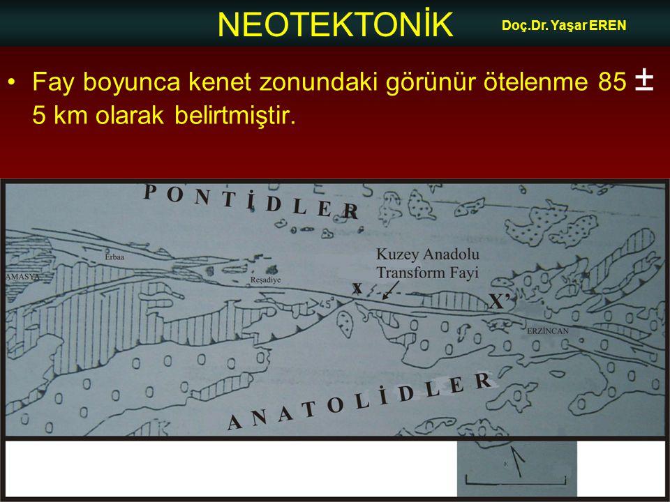 NEOTEKTONİK Doç.Dr. Yaşar EREN Fay boyunca kenet zonundaki görünür ötelenme 85 ± 5 km olarak belirtmiştir.