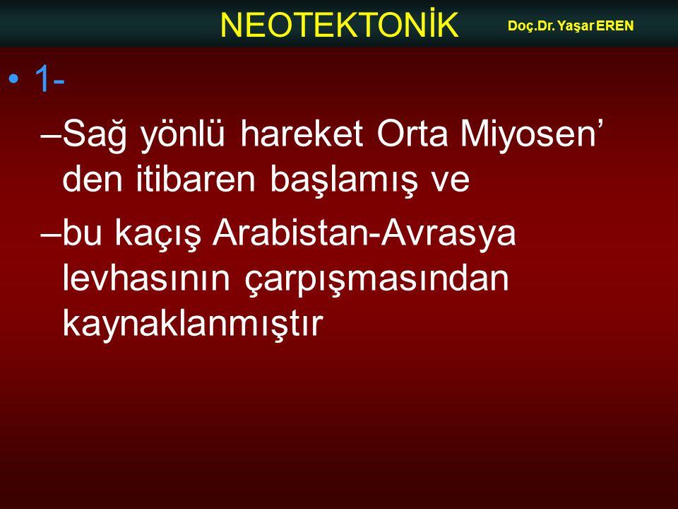 NEOTEKTONİK Doç.Dr. Yaşar EREN 1- –Sağ yönlü hareket Orta Miyosen' den itibaren başlamış ve –bu kaçış Arabistan-Avrasya levhasının çarpışmasından kayn