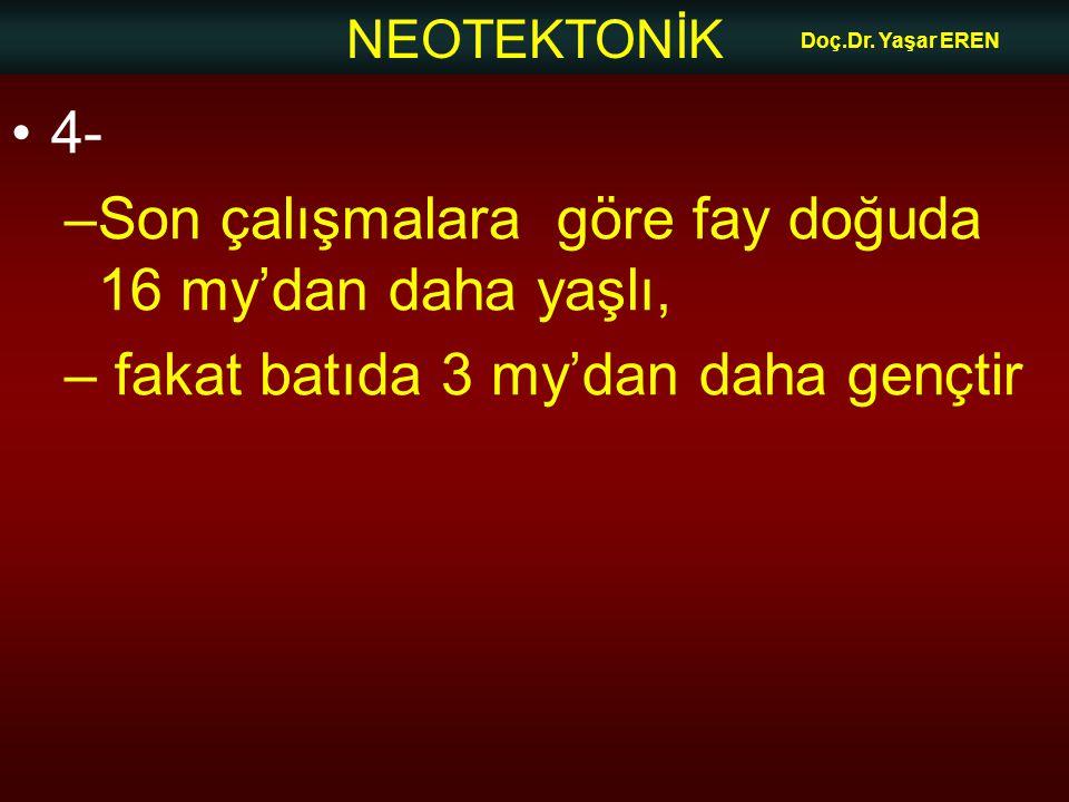 NEOTEKTONİK Doç.Dr. Yaşar EREN 4- –Son çalışmalara göre fay doğuda 16 my'dan daha yaşlı, – fakat batıda 3 my'dan daha gençtir