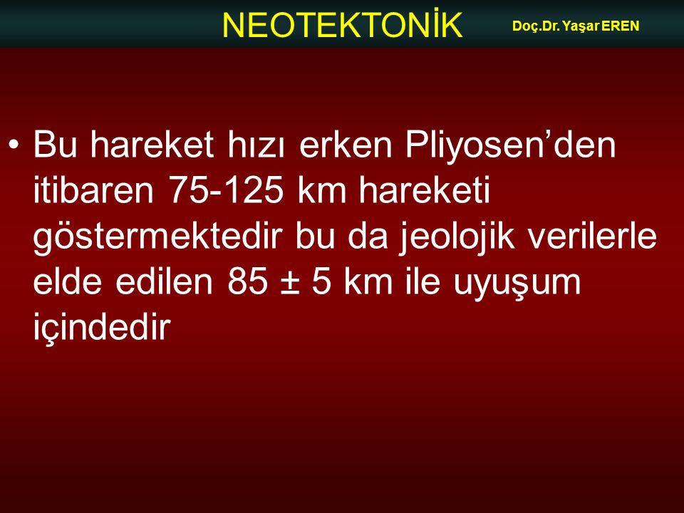 NEOTEKTONİK Doç.Dr. Yaşar EREN Bu hareket hızı erken Pliyosen'den itibaren 75-125 km hareketi göstermektedir bu da jeolojik verilerle elde edilen 85 ±