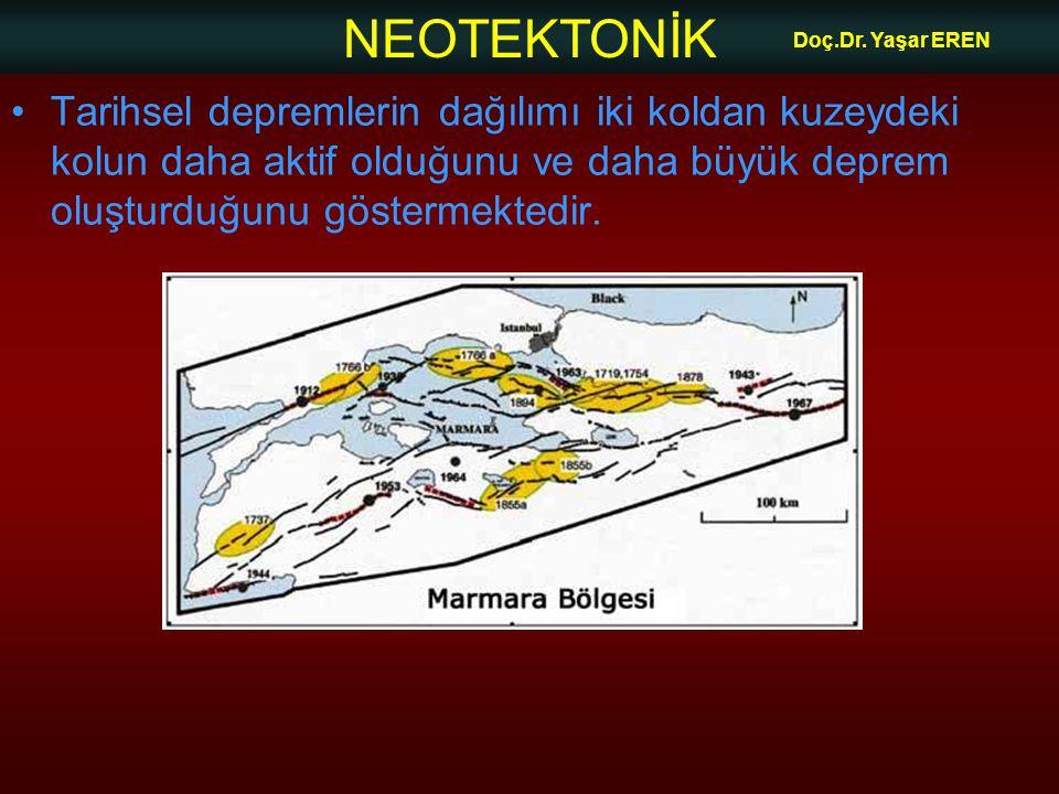 NEOTEKTONİK Doç.Dr. Yaşar EREN Tarihsel depremlerin dağılımı iki koldan kuzeydeki kolun daha aktif olduğunu ve daha büyük deprem oluşturduğunu gösterm